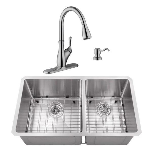 32 in. 60/40 Radius Corner Stainless Steel Kitchen Sink & Transitional Faucet