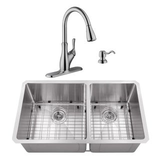 32 in. 60/40 Radius Corner Stainless Steel Kitchen Sink & Transitional Faucet