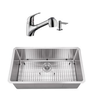 32 in. Radius Corner Stainless Steel Kitchen Sink & Low Profile Faucet