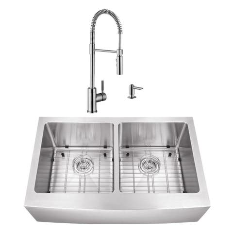 32-7/8 in. 50/50 Apron Front Stainless Steel Kitchen Sink & Industrial Faucet