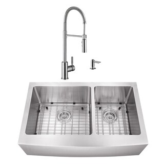 32-7/8 in. 60/40 Apron Front Stainless Steel Kitchen Sink & Industrial Faucet