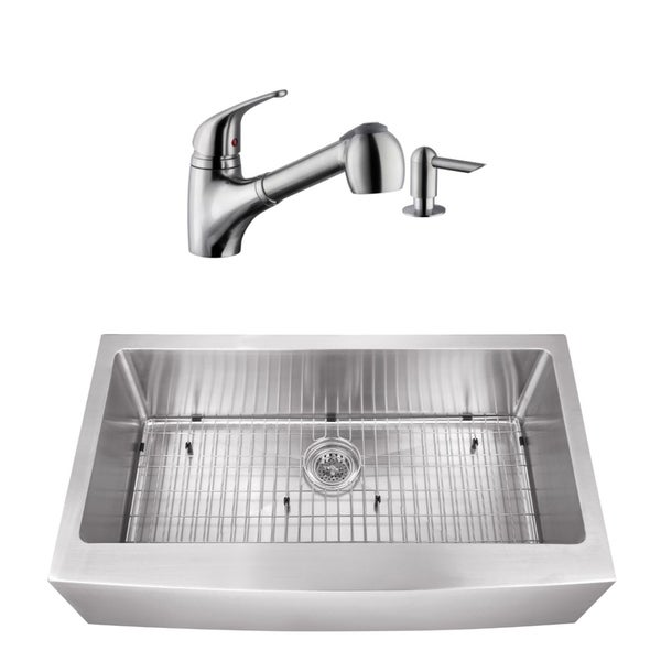 32-7/8 in. apron front stainless steel kitchen sink & low