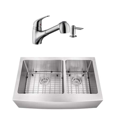 35-7/8 in. 60/40 Apron Front Stainless Steel Kitchen Sink & Low Profile Faucet