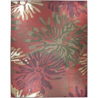 Ruggable Washable Indoor/Outdoor Stain Resistant Pet Area Rug Mum Floral Red (8' x 10') - 8' x 10'