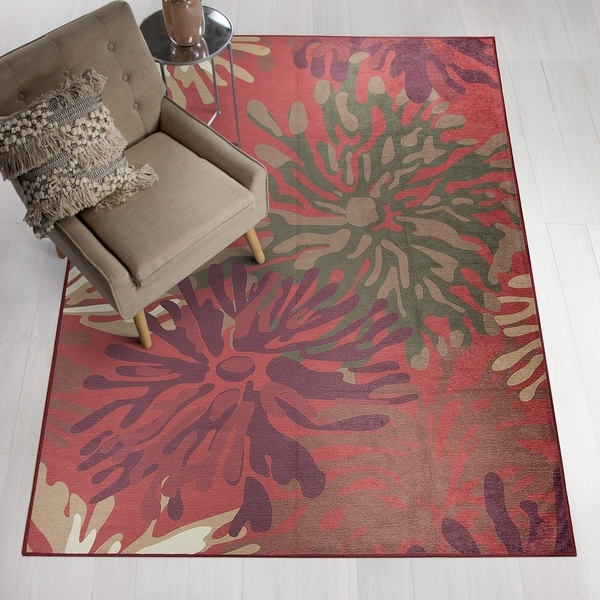 Ruggable Washable Stain Resistant Pet Area Rug Mum Fl Red 8 X27