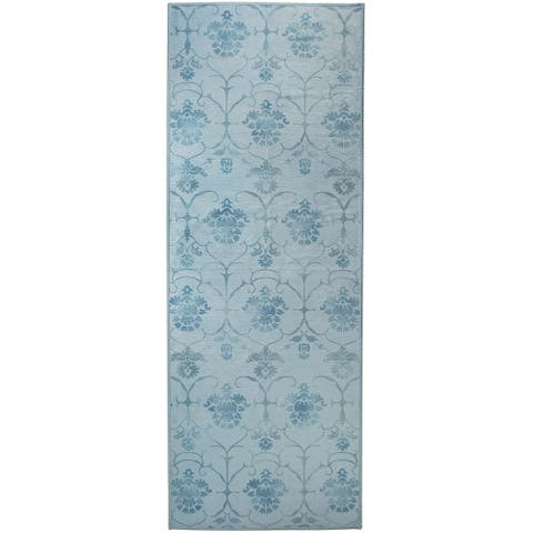 """Ruggable Washable Stain Resistant Pet Runner Rug Leyla Blue - 2'6"""" x 7'"""