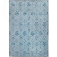 Ruggable Washable Indoor/Outdoor Stain Resistant Pet Area Rug Leyla Blue (5' x 7') - 5' x 7'