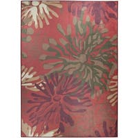 Ruggable Washable Indoor/Outdoor Stain Resistant Pet Area Rug Mum Floral Red (5' x 7') - 5' x 7'