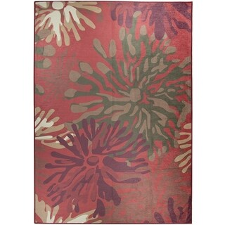 Ruggable Washable Indoor/Outdoor Stain Resistant Area Rug Mum Floral Red