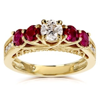 Annello by Kobelli 14k Yellow Gold 1 4/5ct TGW Diamond and Ruby Five Stone V-Prong Engagement Ring - Red/White