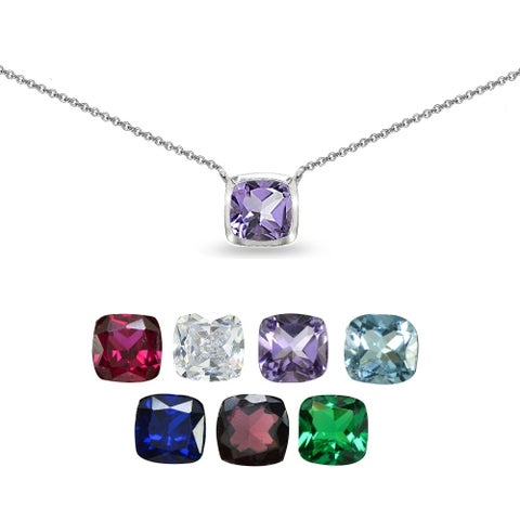 Glitzy Rocks Cushion-Cut Solitaire Genuine, Created or Imitation Gemstone Choker Necklace in Sterling Silver