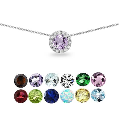 Glitzy Rocks Gemstone & White Topaz Round Halo Slide Choker Necklace in 925 Silver