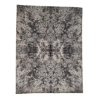 """Shahbanu Rugs Hand-Knotted Wool and Silk Abstract Design Modern Rug - 9'10"""" x 13'7"""""""