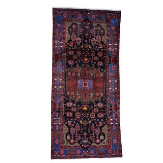 "Shahbanu Rugs Persian Nahavand Hand-Knotted Pure Wool Wide Runner Rug - 5'0"" x 10'4"""