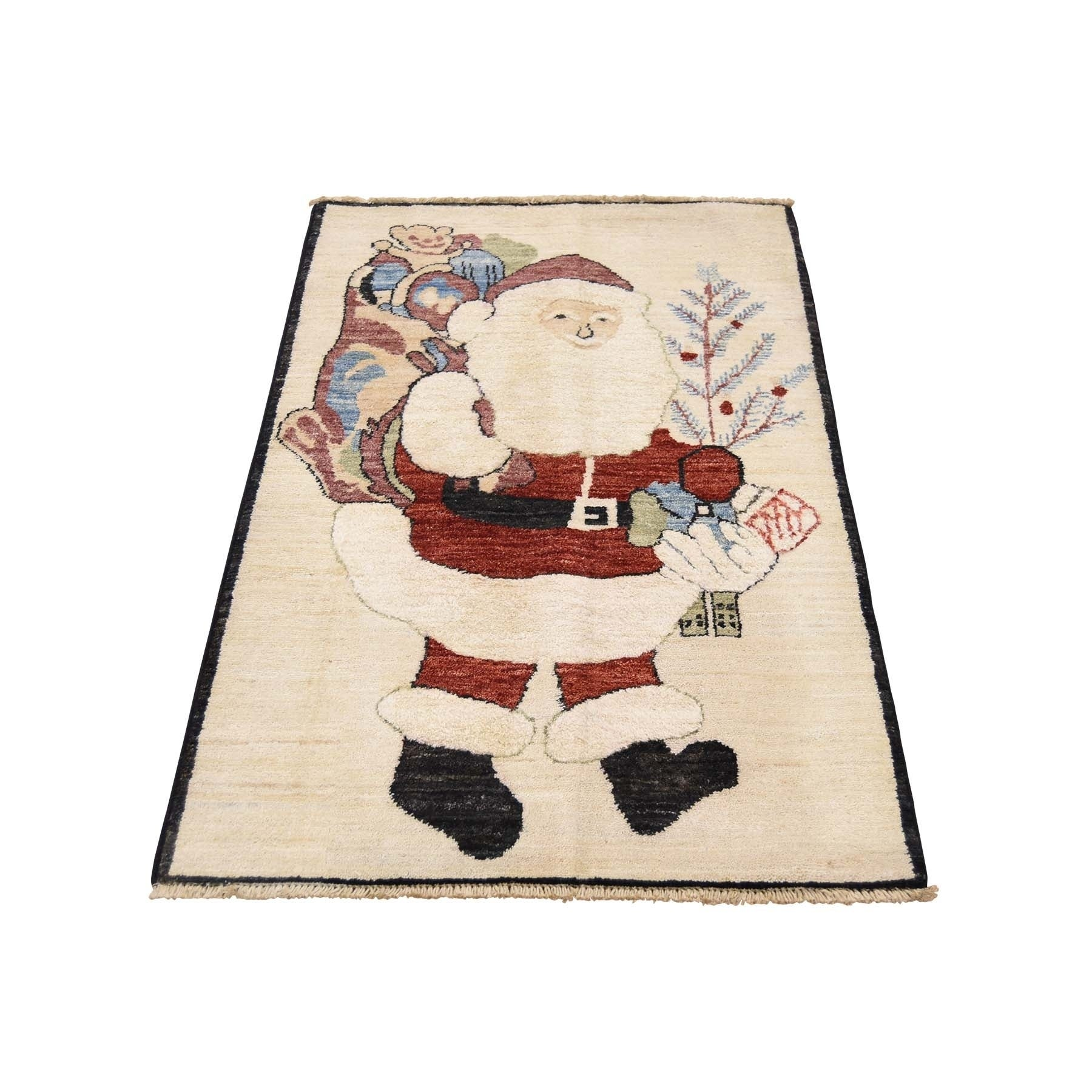 Shahbanu Rugs Pure Wool Peshawar Quality Hand Knotted Santa Claus Rug 2 3 X 3 10 On Sale Overstock 20632598