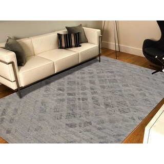 "Shahbanu Rugs Hand Spun Undyed Natural Wool Grey Modern Oriental Rug - 6'2"" x 9'1"""