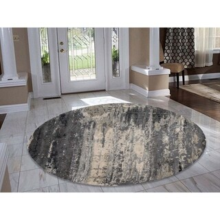 """Shahbanu Rugs Hand-Knotted Round Wool and Silk Abstract Design Oriental Rug - 10'1"""" x 10'1"""""""