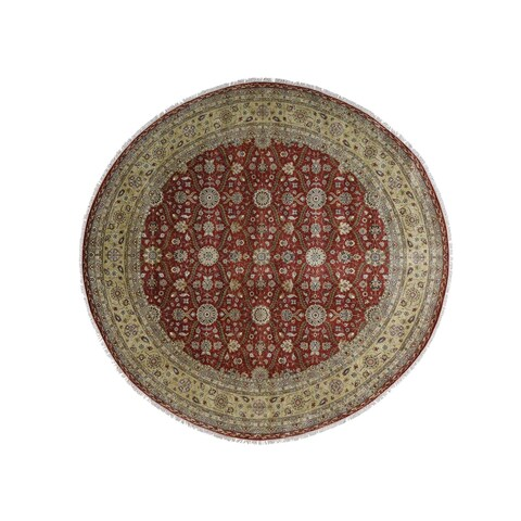 "Shahbanu Rugs Hand Knotted Wool and Silk Hereke Design 300 Kpsi Round Rug - 12'0"" x 12'3"""