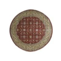 """Shahbanu Rugs Hand Knotted Wool and Silk Hereke Design 300 Kpsi Round Rug - 12'0"""" x 12'3"""""""