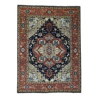 "Shahbanu Rugs Hand-Knotted Indo Heriz Design Pure Wool Oriental Rug - 10'2"" x 13'10"""