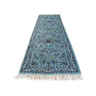 """Shahbanu Rugs Hand Knotted Overdyed Indo Kashan With Animal Design Runner Rug (3'0"""" x 9'10"""") - 3'0"""" x 9'10"""""""