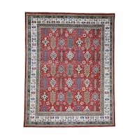"""Shahbanu Rugs Hand-Knotted Pure Wool Special Kazak Cypress Tree Design Oriental Rug - 7'10"""" x 9'10"""""""