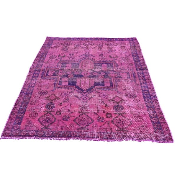 Shahbanu Rugs Hand Knotted Vintage Overdyed Persian Hamadan Hot Pink Oriental Rug 4 X27