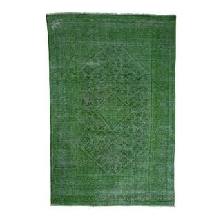 "Shahbanu Rugs Hand Knotted Vintage Overdyed Persian Hamadan Oriental Rug - 6'2"" x 9'6"""