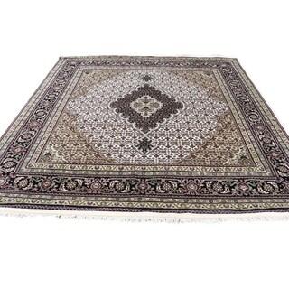 "Shahbanu Rugs Hand-Knotted 250 Kpsi Tabriz Mahi Wool And Silk Square Oriental Rug (6'0"" x 6'0"") - 6'0"" x 6'0"""