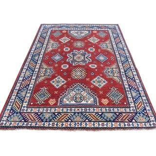"Shahbanu Rugs Hand-Knotted Red Special Kazak Geometric Design Oriental Rug - 4'10"" x 6'8"""