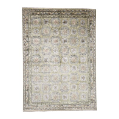 """Shahbanu Rugs Hand Knotted Pure Silk Khottan Design with Greens Oriental Rug - 8'7"""" x 11'10"""""""