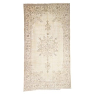 "Shahbanu Rugs Gallery Size Vintage Tabriz Full Pile Hand Knotted Pure Wool Rug - 9'9"" x 17'6"""