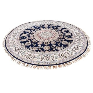 """Shahbanu Rugs Wool And Silk 300 Kpsi Navy Blue Hand-Knotted Oriental Round Rug - 5'0"""" x 5'0"""""""