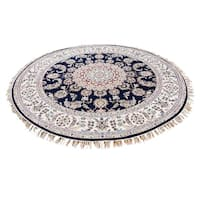 "Shahbanu Rugs Hand-Knotted 300 Kpsi Wool and Silk Navy Blue Nain Round Rug - 6'0"" x 6'0"""