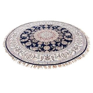 "Shahbanu Rugs Hand-Knotted 300 Kpsi Wool and Silk Navy Blue Nain Round Rug - 6'0"" x 6'0"""