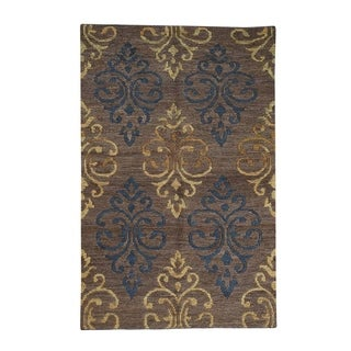 """Shahbanu Rugs Hand-Knotted Thick And Plush Modern Pure Jute Oriental Rug - 5'3"""" x 8'0"""""""