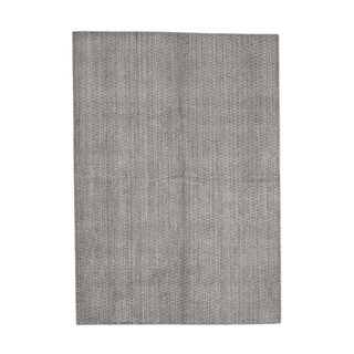 "Shahbanu Rugs Tone on Tone Pure Wool Grey Hand-Loomed Oriental Rug - 5'0"" x 7'0"""