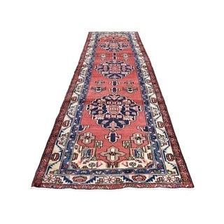 "Shahbanu Rugs Hand-Knotted Semi Antique Persian Hamadan Wide Runner Oriental Rug (3'6"" x 11'5"") - 3'6"" x 11'5"""