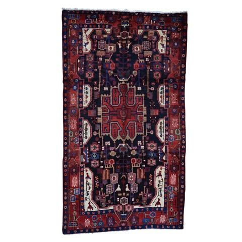 "Shahbanu Rugs Hand-Knotted Semi Antique Persian Nahavand Wide Runner Oriental Rug - 5'5"" x 9'9"""