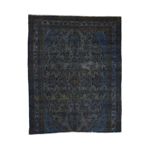 """Shahbanu Rugs Hand Knotted Vintage Overdyed Persian Bibikabad Fragment Rug - 6'10"""" x 8'6"""""""