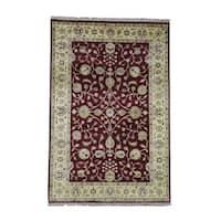 "Shahbanu Rugs Hand Knotted Pure Wool Burgundy Rajasthan Oriental Rug - 5'10"" x 8'10"""