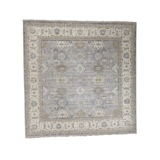 "Shahbanu Rugs Hand-Knotted Pure Wool Silver Karajeh Design Square Oriental Rug - 11'10"" x 12'0"""