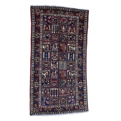 "Shahbanu Rugs Garden Design Semi Antique Persian Bakhtiari Oriental Wide Runner Rug - 5'5"" x 9'5"""