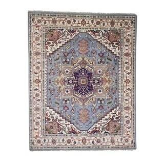 "Shahbanu Rugs Serapi Heriz Tribal Design Hand-Knotted Pure Wool Oriental Rug - 8'0"" x 10'0"""