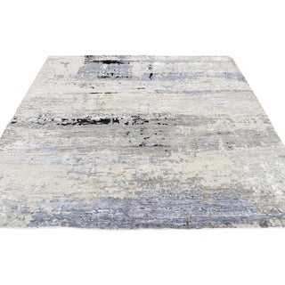 """Shahbanu Rugs Wool And Silk Modern Abstract Design Square Hand Knotted Oriental Rug - 6'0"""" x 6'2"""""""
