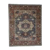 "Shahbanu Rugs Serapi Heriz Pure Wool Tribal Design Hand-Knotted Oriental Rug - 8'1"" x 10'3"""
