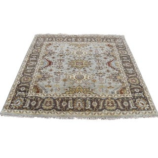 "Shahbanu Rugs Hand-Knotted Pure Wool Karajeh Design Square Oriental Rug - 4'10"" x 5'0"""