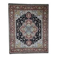 "Shahbanu Rugs Hand-Knotted Serapi Heriz Pure Wool Tribal Design Oriental Rug - 8'0"" x 9'10"""