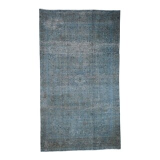 "Shahbanu Rugs Vintage Overdyed Persian Tabriz Gallery Size Hand Knotted Rug (6'6"" x 11'0"") - 6'6"" x 11'0"""