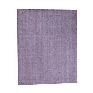 "Shahbanu Rugs Tone on Tone Purple Hand-Loomed Pure Wool Oriental Rug - 8'0"" x 10'0"""